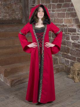 Robe Médiévale Brida en rouge et noir