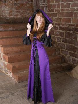 Robe médiévale Clara en noir et lilas
