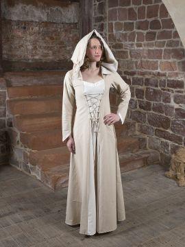 Robe médiévale Floriel en crème et blanc