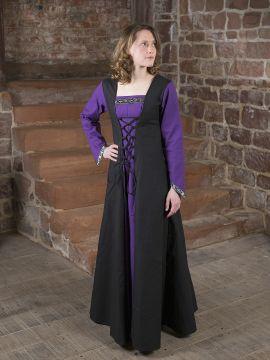 Robe médiévale Jacqueline en noir et lilas