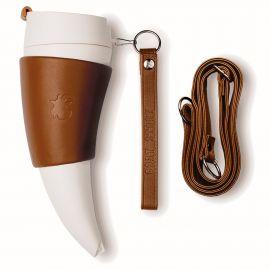 """Tasse à café """"corne à boire"""" en marron & blanc"""