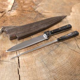 Couteau et pic avec fourreau double en cuir