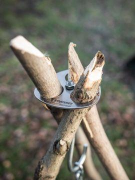 Plaque d'arrimage en métal pour trépied (kit avec crochet et chaîne)
