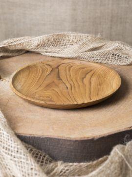 Assiette plate en teck 25 cm