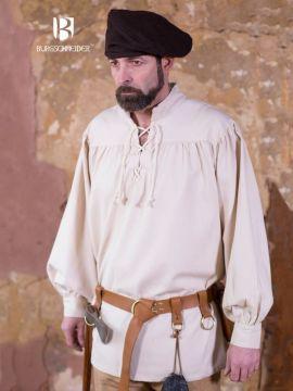 Chemise médiévale ou de pirate en blanc -écru S