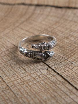 Bague viking têtes de dragon en argent