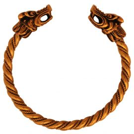 Bracelet en bronze viking à tête de dragon