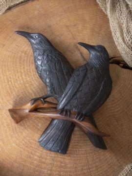 Décoration murale en bois, corbeau d'Odin