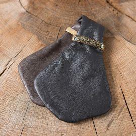 Petite bourse à monnaie en cuir bicolore noir-marron
