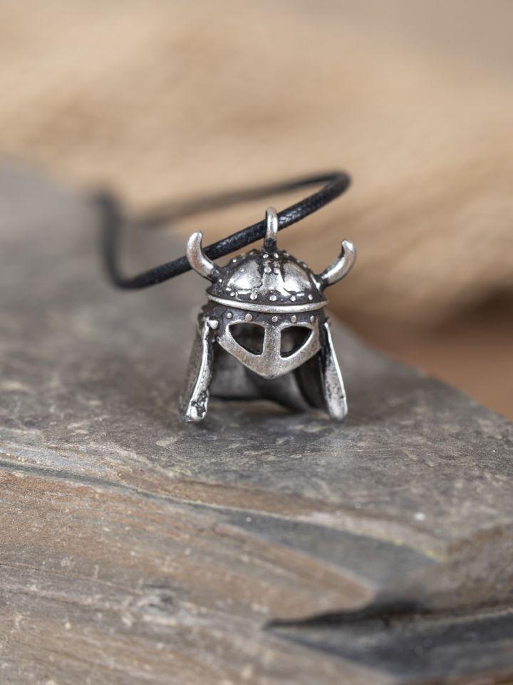Pendentif casque à lunette viking argent