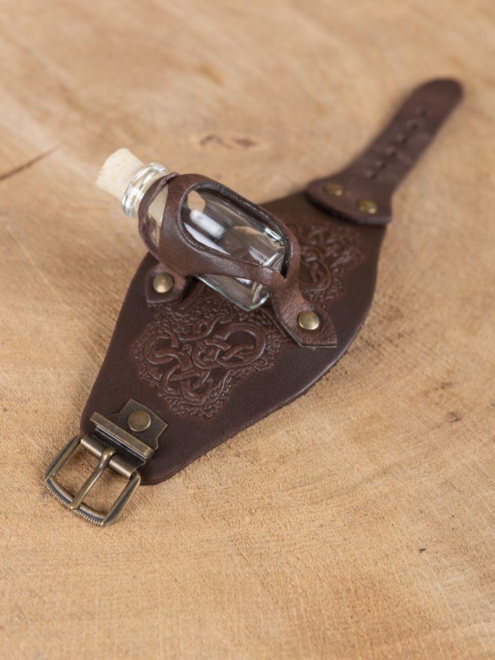 Bracelet porte fiole gaufré, en marron