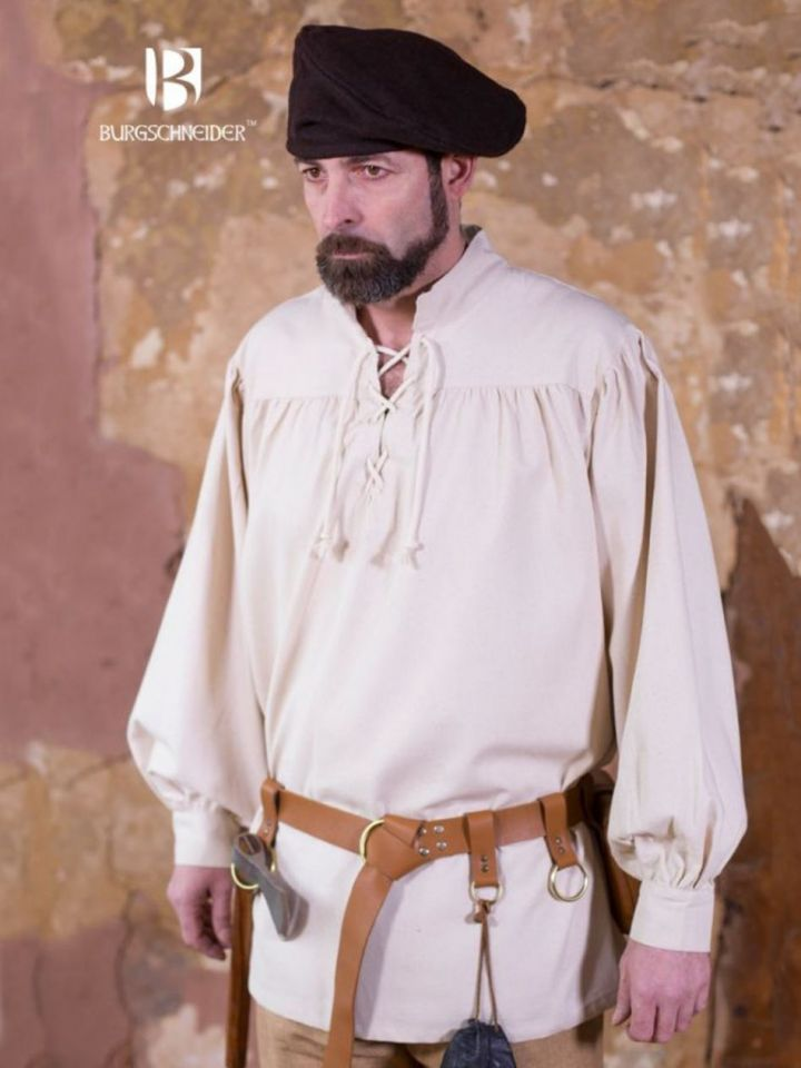 Chemise médiévale ou de pirate en blanc -écru XXXL