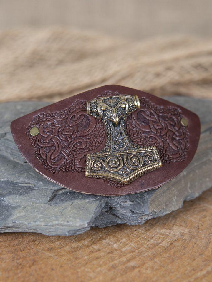 Barrette en cuir avec Marteau de Thor