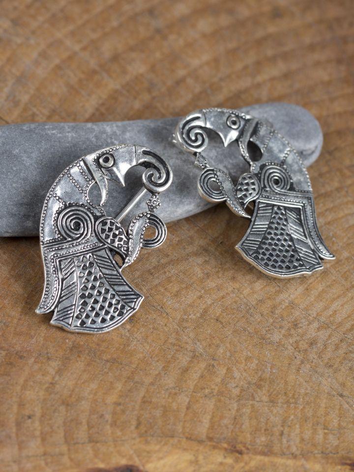 Fibule Raven en bronze plaqué argent