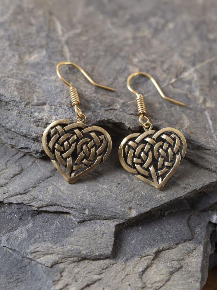 Boucles d'oreilles coeur celtique bronze