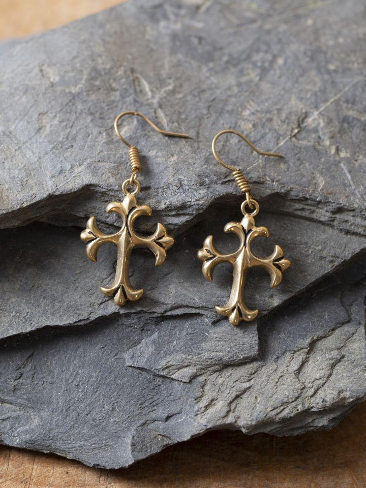 Boucles d'oreilles croix de bronze