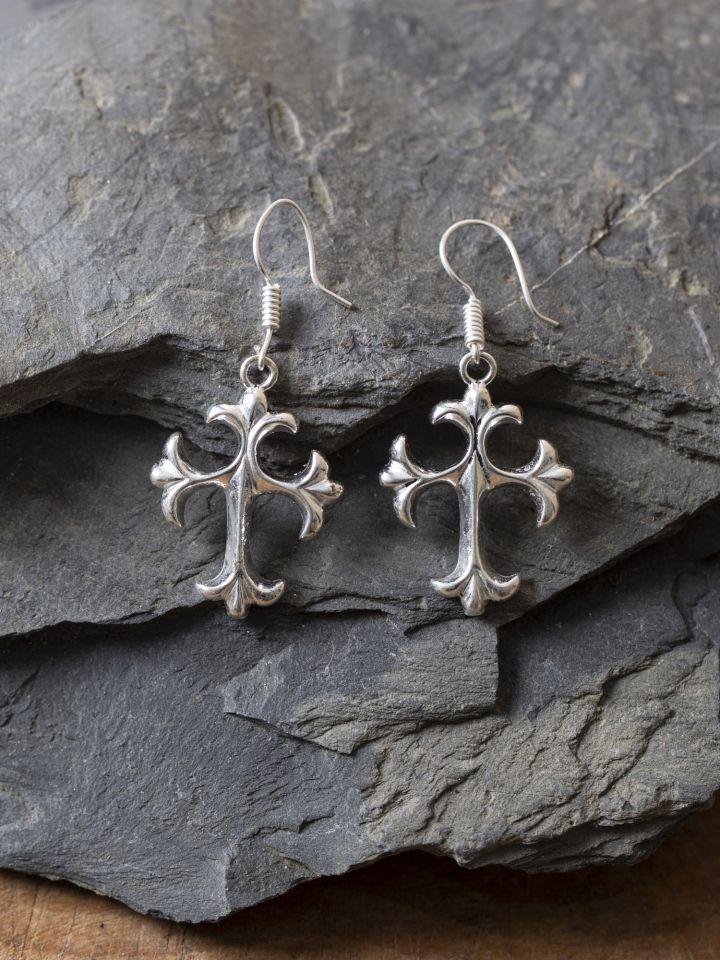 Boucles d'oreilles croix en bronze argenté