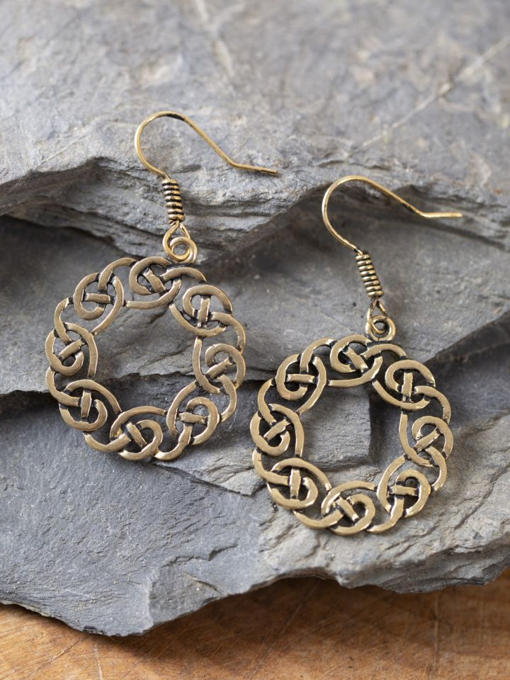 Boucles d'oreilles couronne celtique, couleur bronze