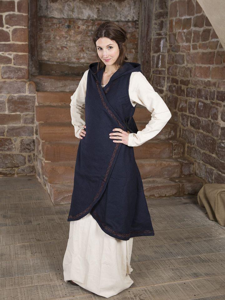 Robe portefeuille Dala en feutre bleu