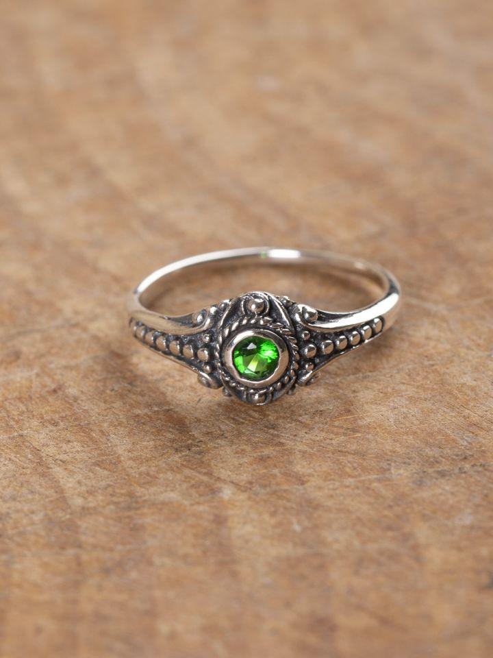 Bague Viking en argent avec pierre en zircon verte