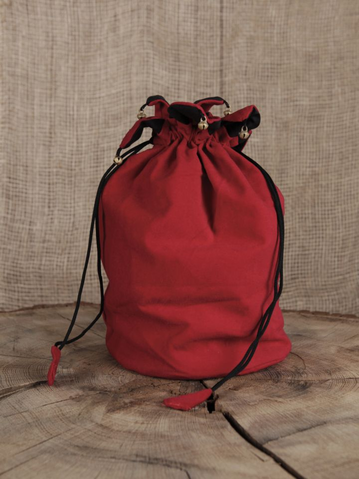 Sac besace rouge à grelots