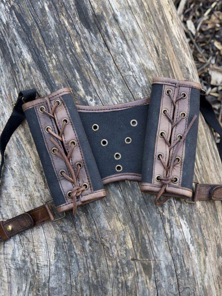 Porte-épées double, marron et noir