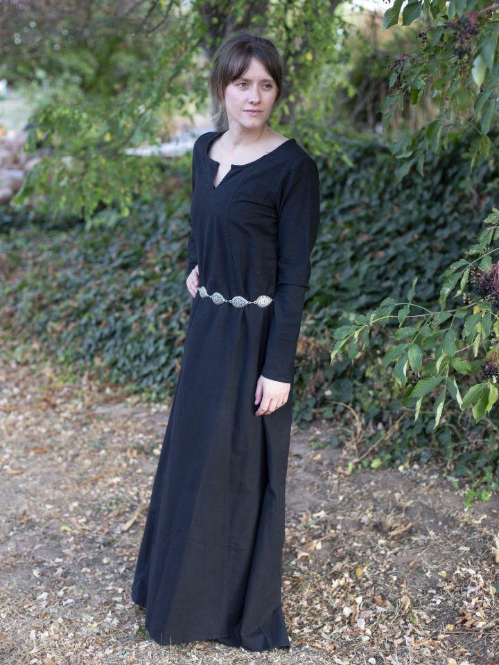 Robe médiévale simple, noire L