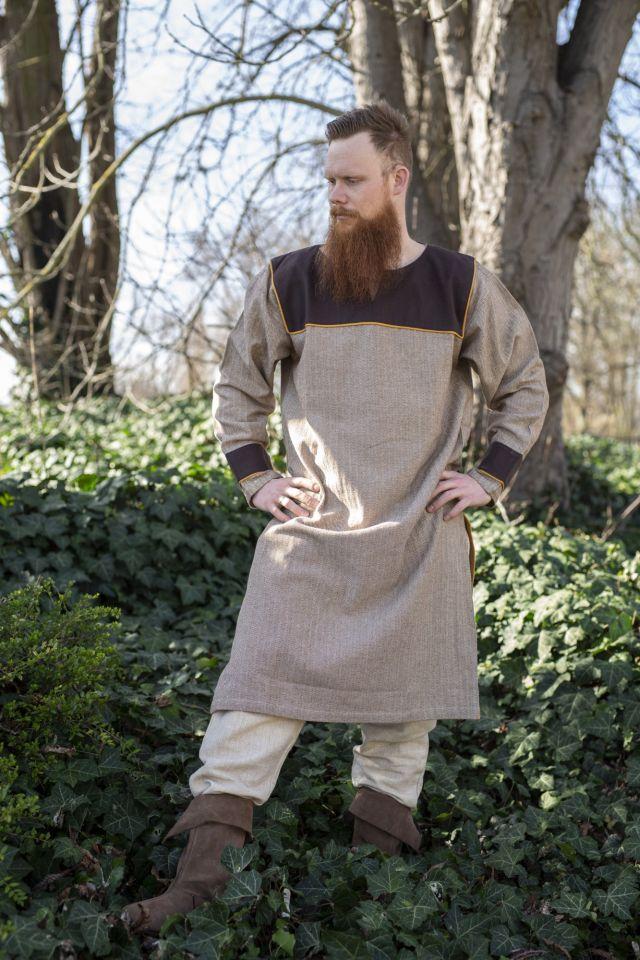 Tunique Viking marron, motif chevrons L