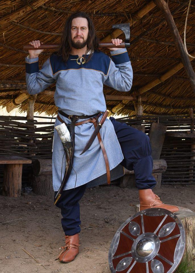 Tunique Viking bleue, motif chevrons