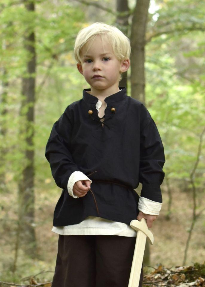 Chemise médiévale pour enfant, en noir