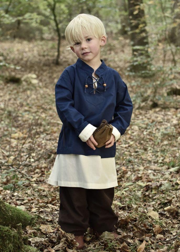 Chemise médiévale pour enfant, en bleu