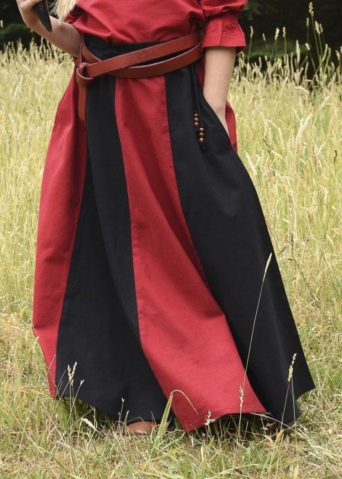 Jupe médiévale pour enfant, rouge et noire