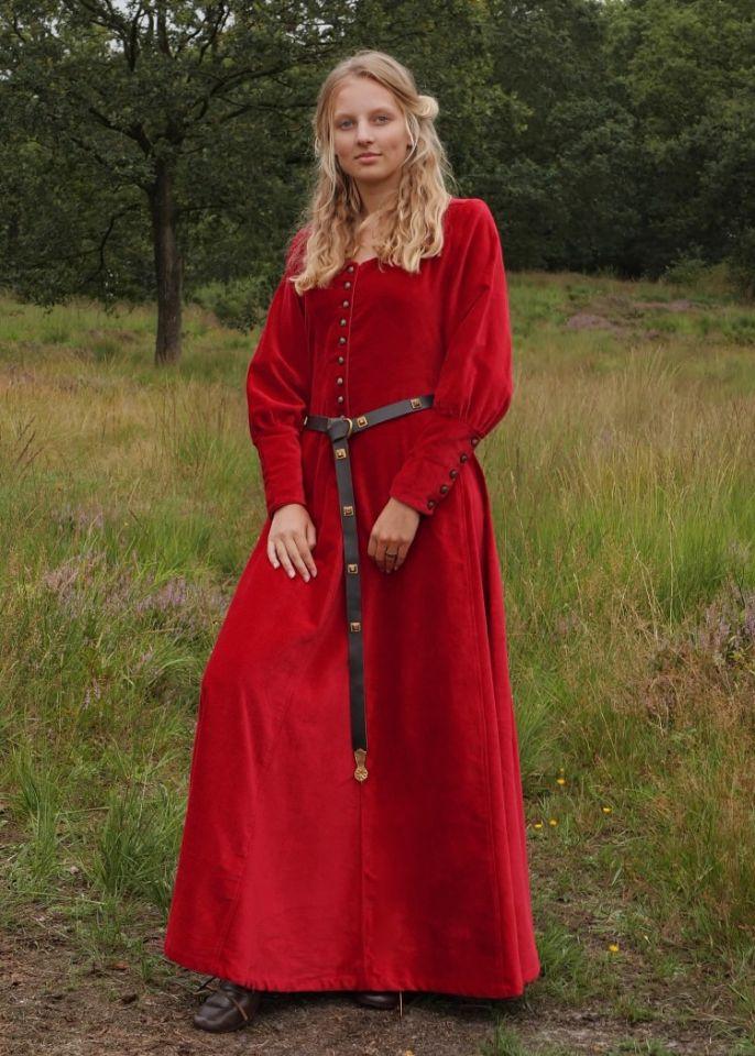 Cotehardie en velours, en rouge