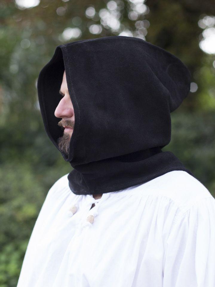 Capuchon en cuir suédé en noir