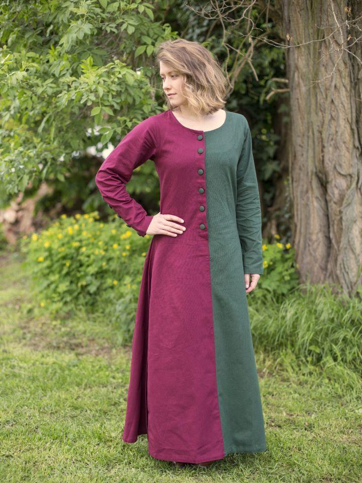 Robe médiévale bicolore à boutons bordeaux et vert
