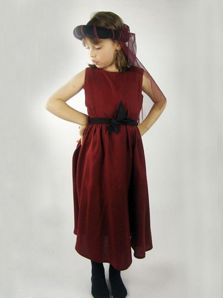 Robe rouge pour fillette, sans manches
