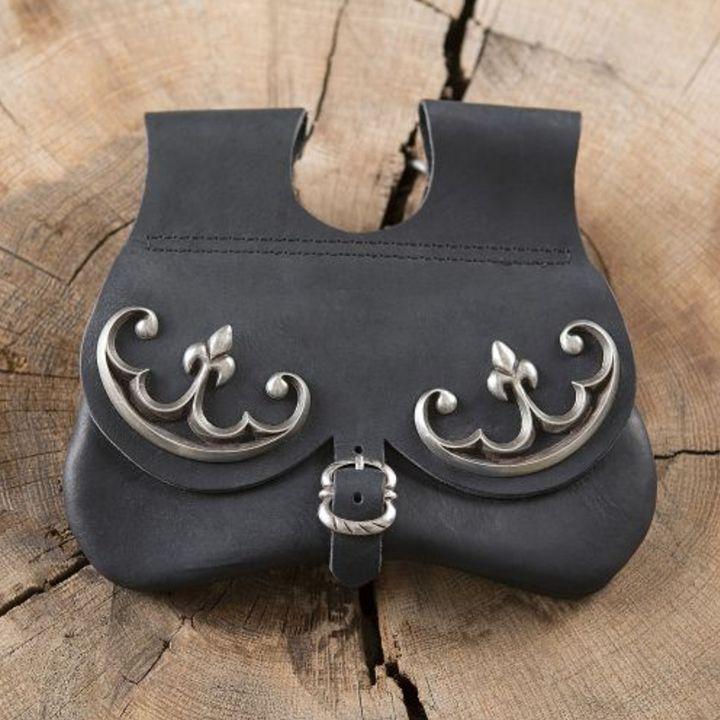 Sacoche de ceinture en nubuck aspect cuir, noire