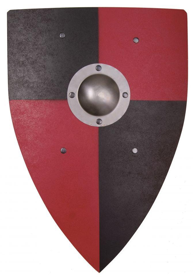 Bouclier Normand en bois noir et rouge