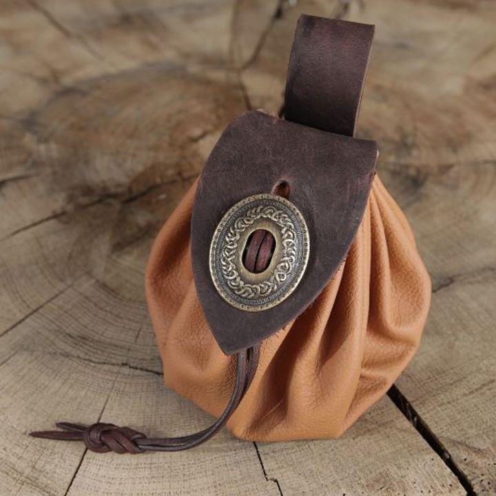 Bourse de ceinture en cuir marron clair