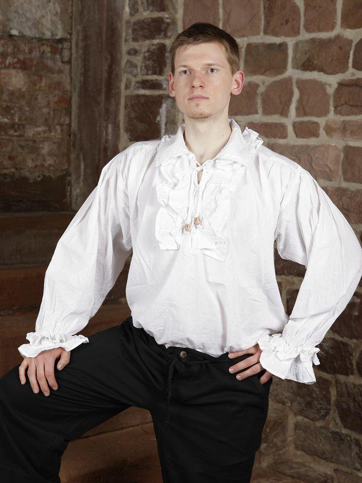 Chemise à jabot en coton