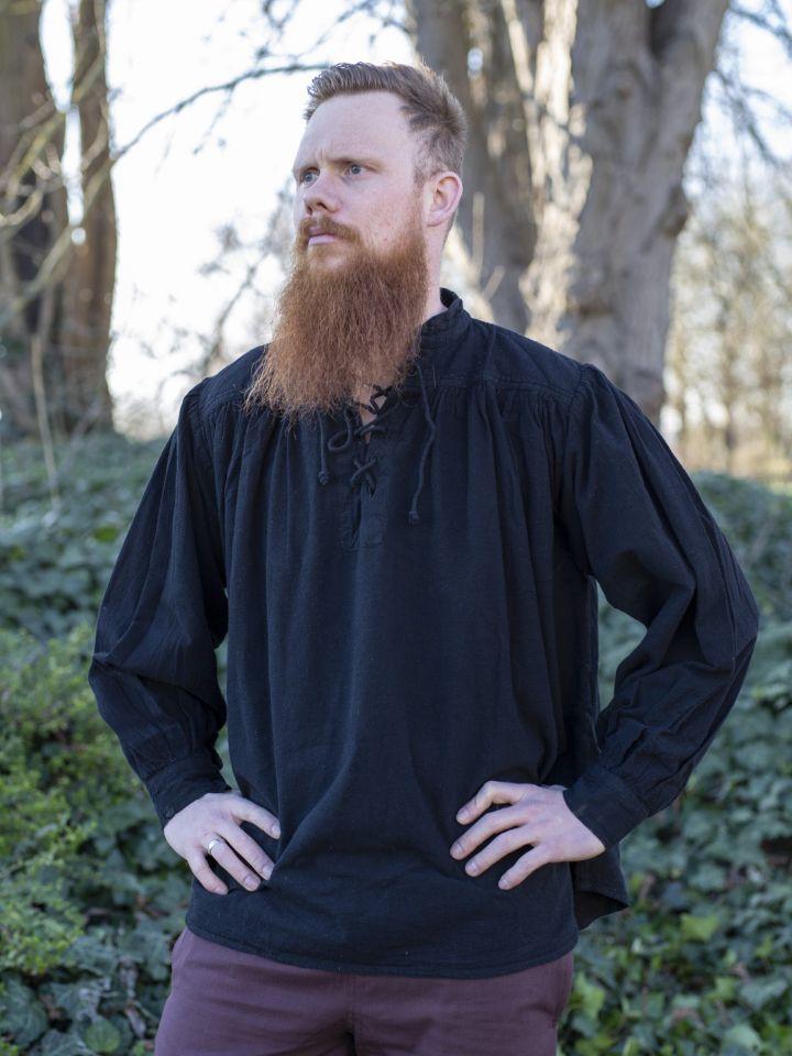 Chemise médiévale en noir XL