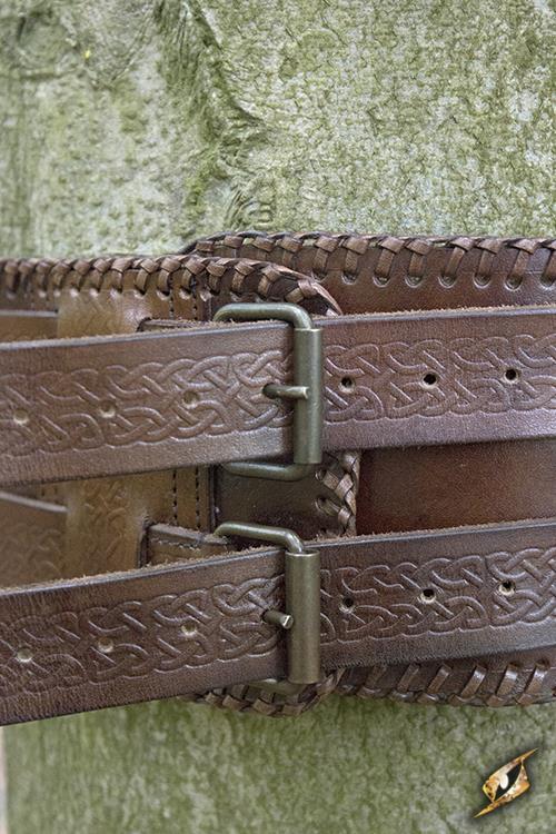 Ceinture double noeud celtique en marron