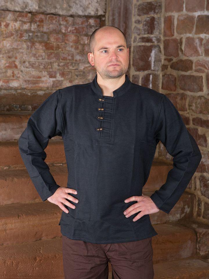Chemise épaisse col droit et boutons en bois, en noir