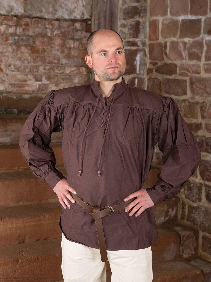 Chemise médiévale brun foncé - tissu épais