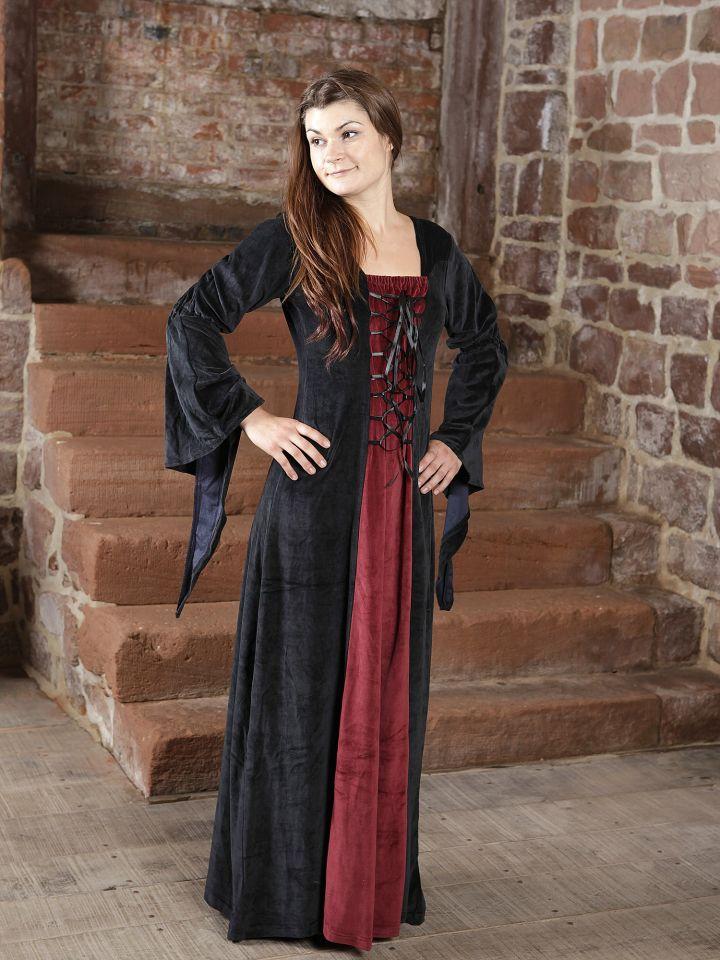 Robe de soirée en velours noir et rouge