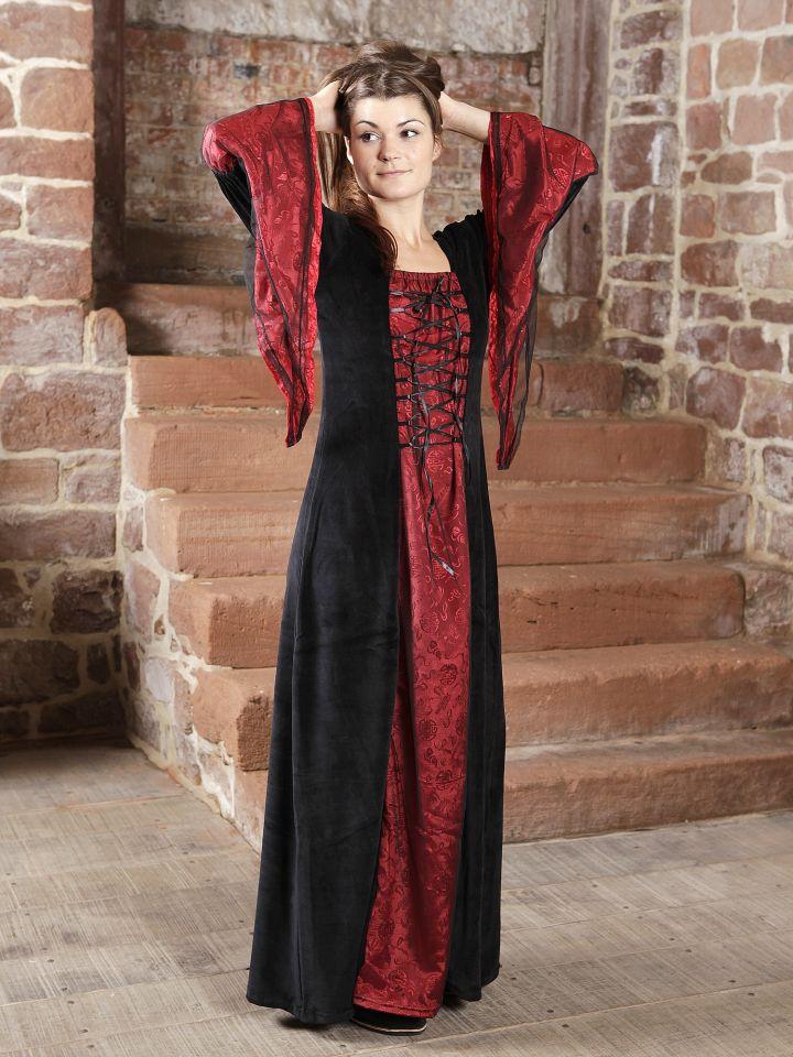 Robe médiévale ou gothique, bordeaux et noire
