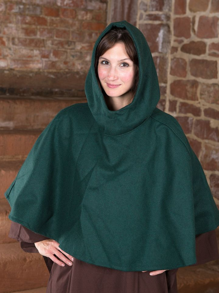 Capuchon en laine feutrée en vert