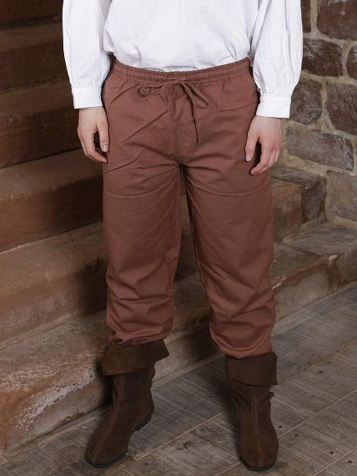 Pantalon médiéval en coton marron