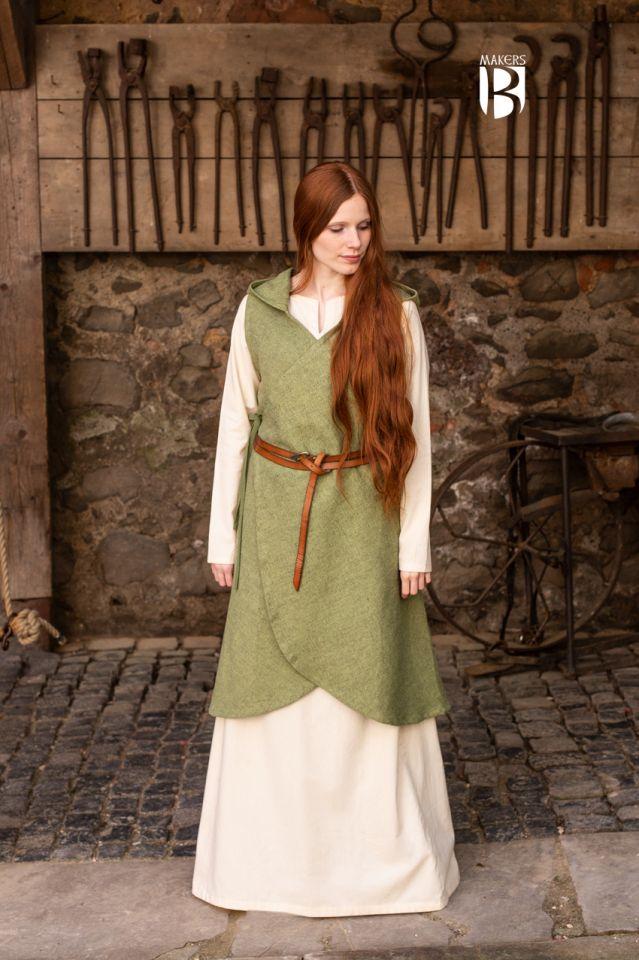 Robe portefeuille Runa, en vert S/M
