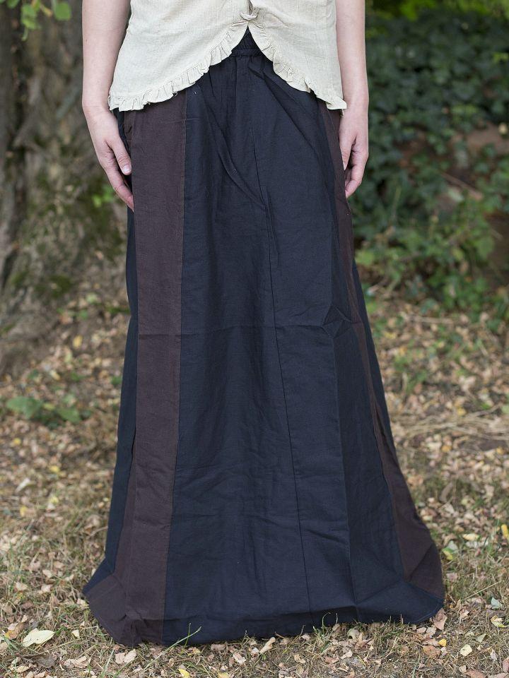 Jupe médiévale bicolore noire et marron